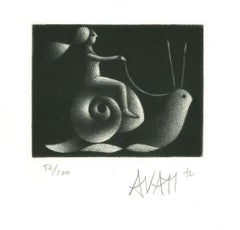 Snail Rider - Original Etching on Paper by Mario Avati - 1970s