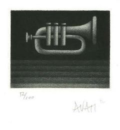 Trumpet - Original Etching on Paper by Mario Avati - 1970s