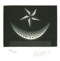 Watermelon and Star - Original Etching on Paper by Mario Avati - 1970s