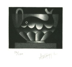 Whale in Cup - Original Etching on Paper by Mario Avati - 1970s