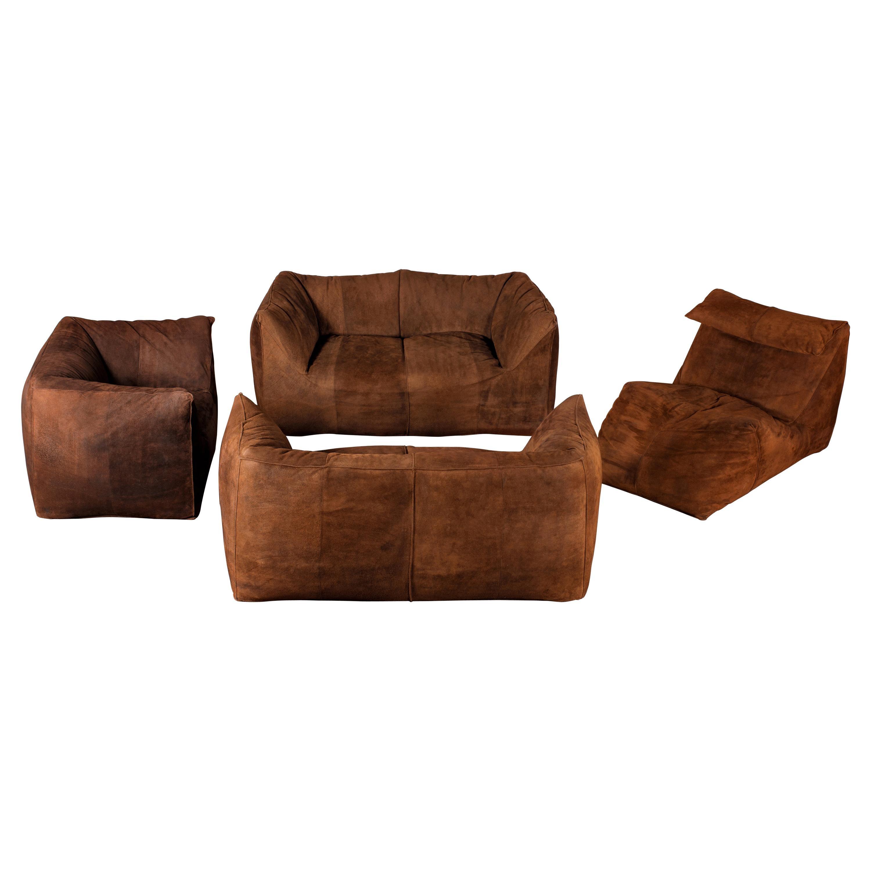 Mario Bellini 4-Piece Suede Leather Bambole Sofa Set for C&B Italia 'B&B Italia'