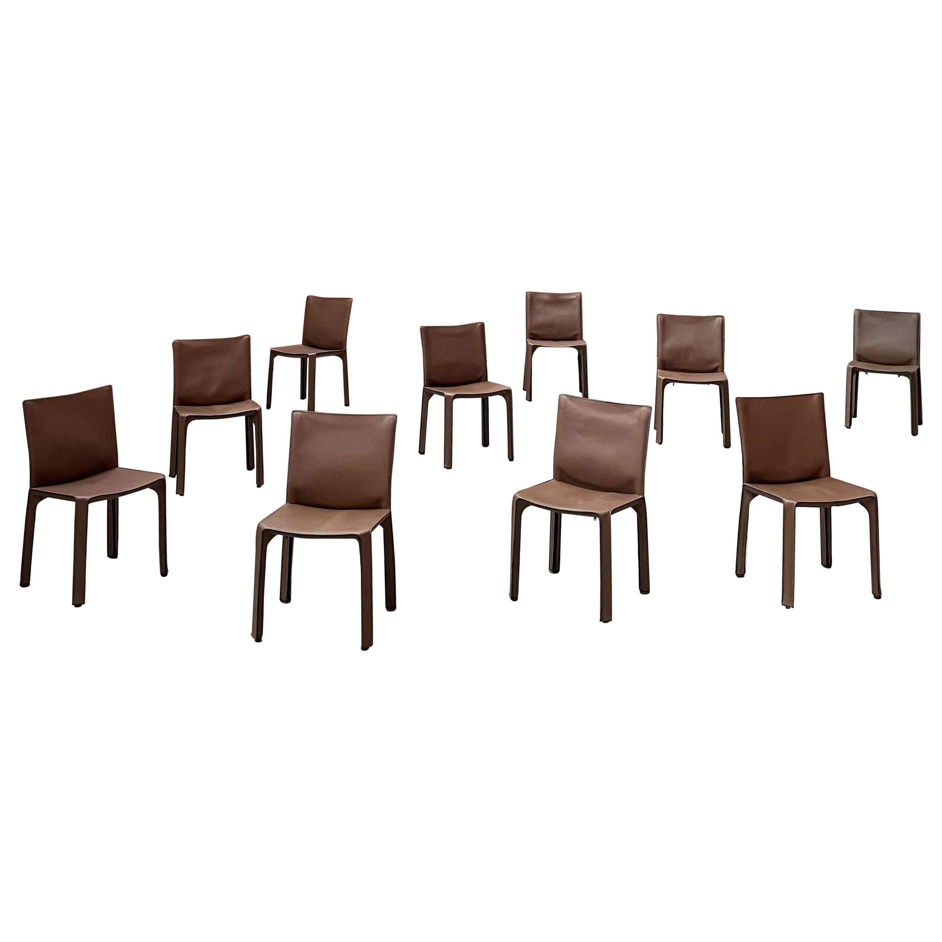 """Mario Bellini 412 """"CAB"""" Dining Chairs for Cassina, 1977, Set of 10"""