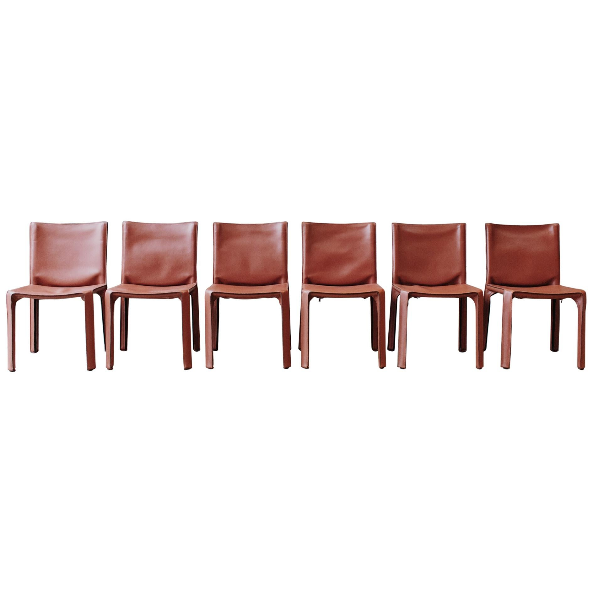 """Mario Bellini 412 """"CAB"""" Dining Chairs for Cassina, 1978, Set of 6"""