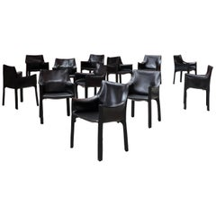 "Mario Bellini 413 ""CAB"" Chairs for Cassina, 1977, Set of 12"