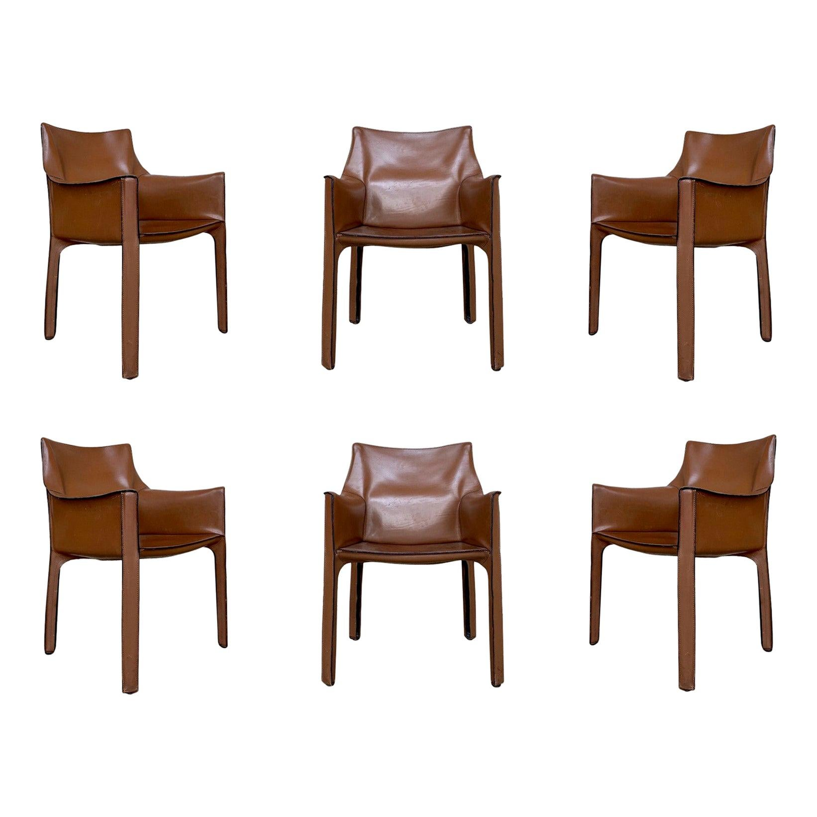 """Mario Bellini 413 """"CAB"""" Chairs for Cassina, 1977, Set of 6"""