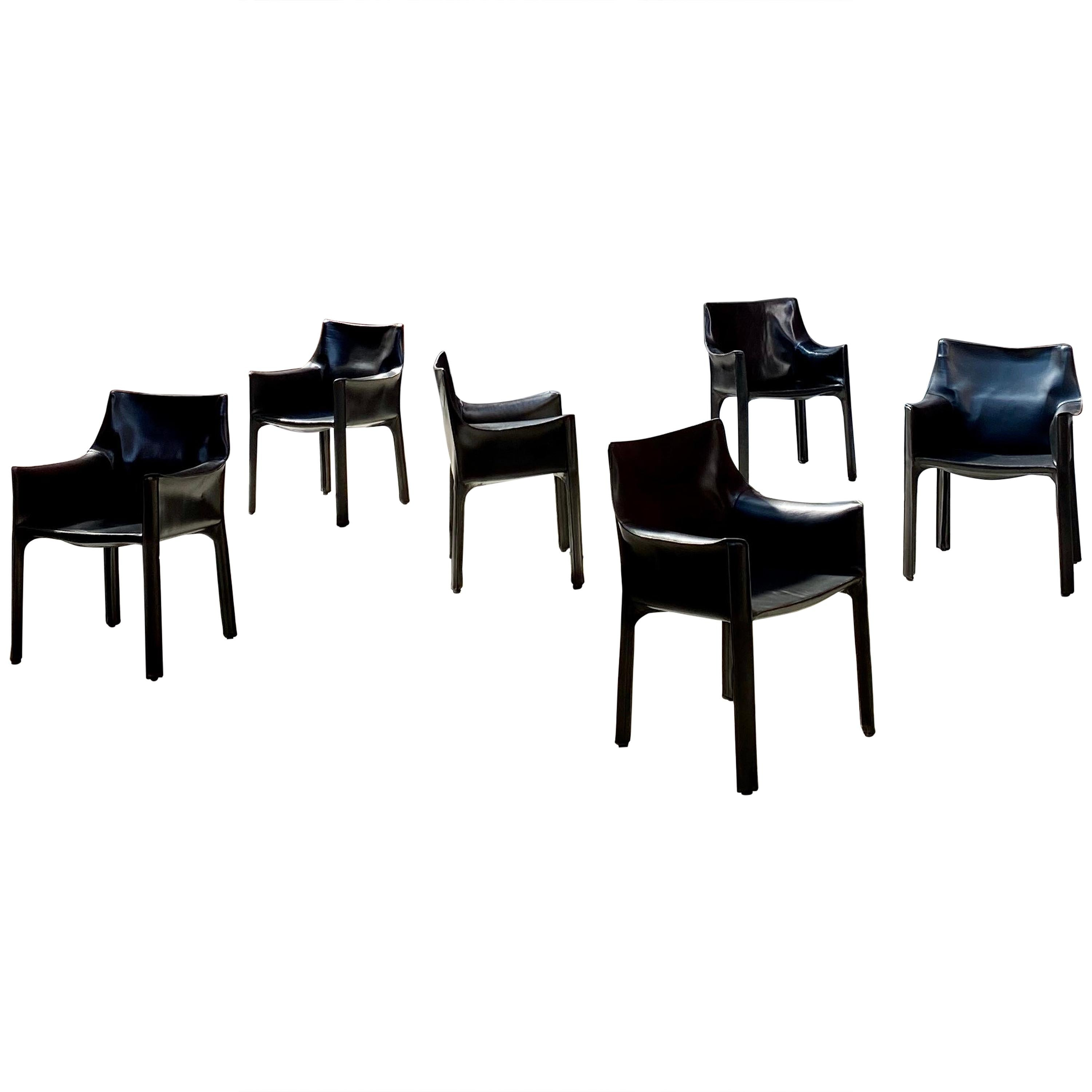 "Mario Bellini 413 ""CAB"" Leather Armchairs for Cassina, 1977, Set of 6"