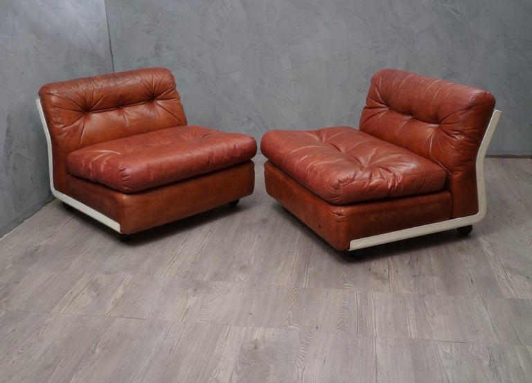 Mid-Century Modern Mario Bellini Amanta C & B Italia Fiberlite and Leather Modular Chairs, 1972 For Sale