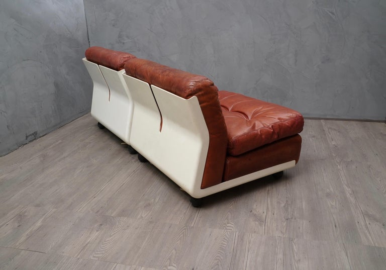 Mario Bellini Amanta C & B Italia Fiberlite and Leather Modular Chairs, 1972 In Good Condition For Sale In Rome, IT