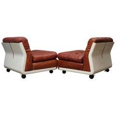 Mario Bellini Amanta C & B Italia Fiberlite and Leather Modular Chairs, 1972