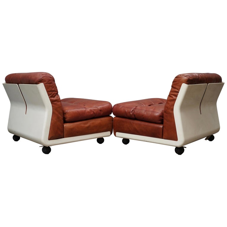 Mario Bellini Amanta C & B Italia Fiberlite and Leather Modular Chairs, 1972 For Sale