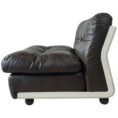 Mario Bellini Amanta Modular Sofa in Brown Leather for B&B Italy, 6 Pieces