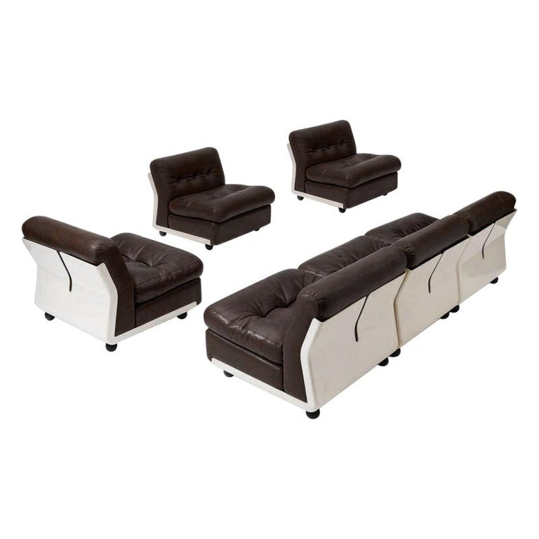 Mario Bellini Amanta Modular Sofa in Brown Leather for B&B Italy, 6 Pieces For Sale