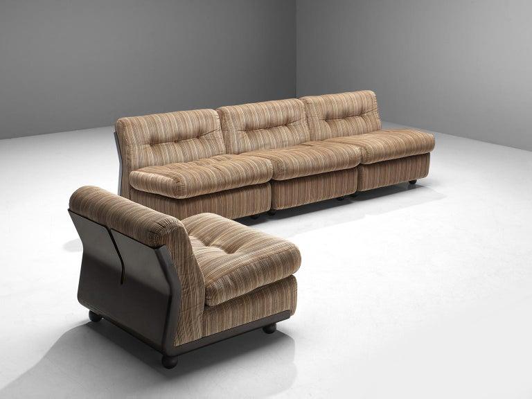 Mario Bellini \'Amanta\' Modular Sofa in Original Beige Striped Fabric, 1966