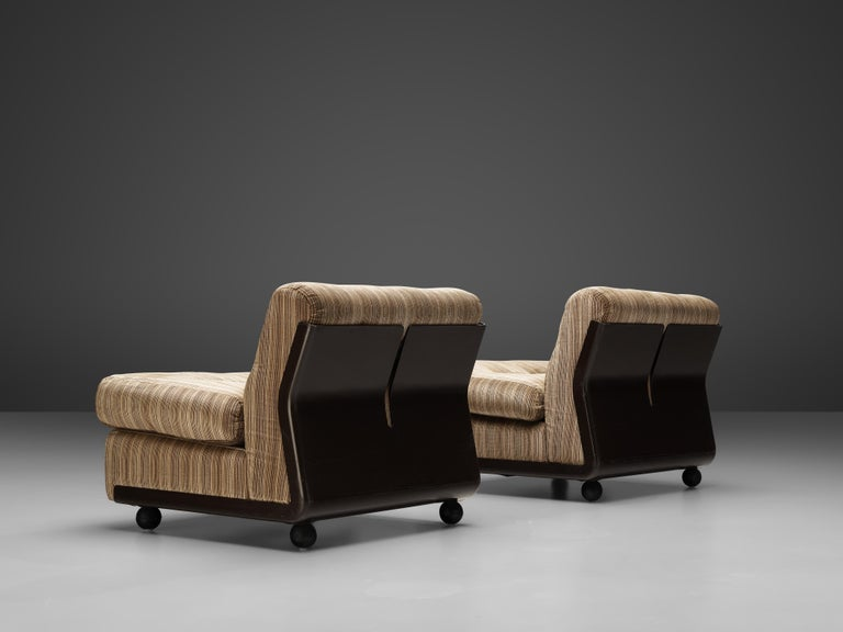Italian Mario Bellini 'Amanta' Pair of Lounge Chairs in Fiberlite and Striped Velvet Uph For Sale