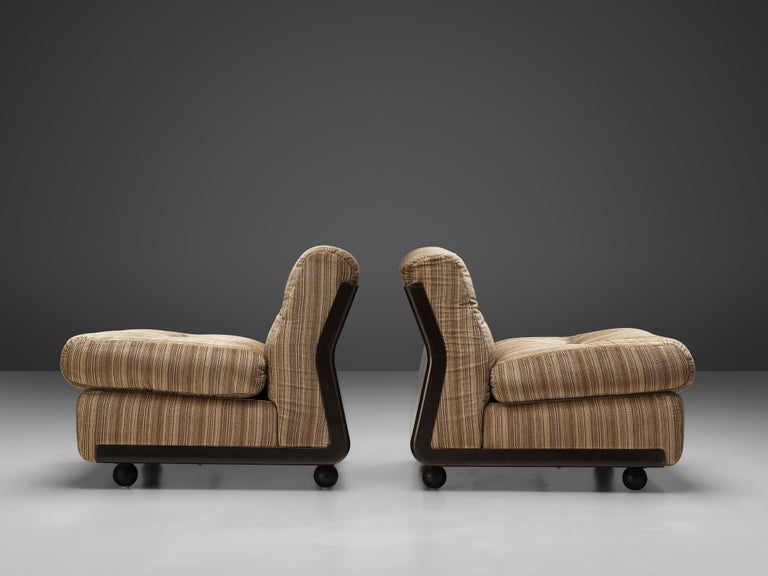 Mid-20th Century Mario Bellini 'Amanta' Pair of Lounge Chairs in Fiberlite and Striped Velvet Uph For Sale