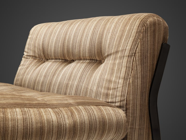Fabric Mario Bellini 'Amanta' Pair of Lounge Chairs in Fiberlite and Striped Velvet Uph For Sale