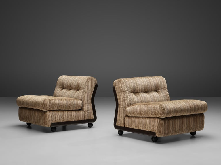 Mario Bellini 'Amanta' Pair of Lounge Chairs in Fiberlite and Striped Velvet Uph For Sale 1