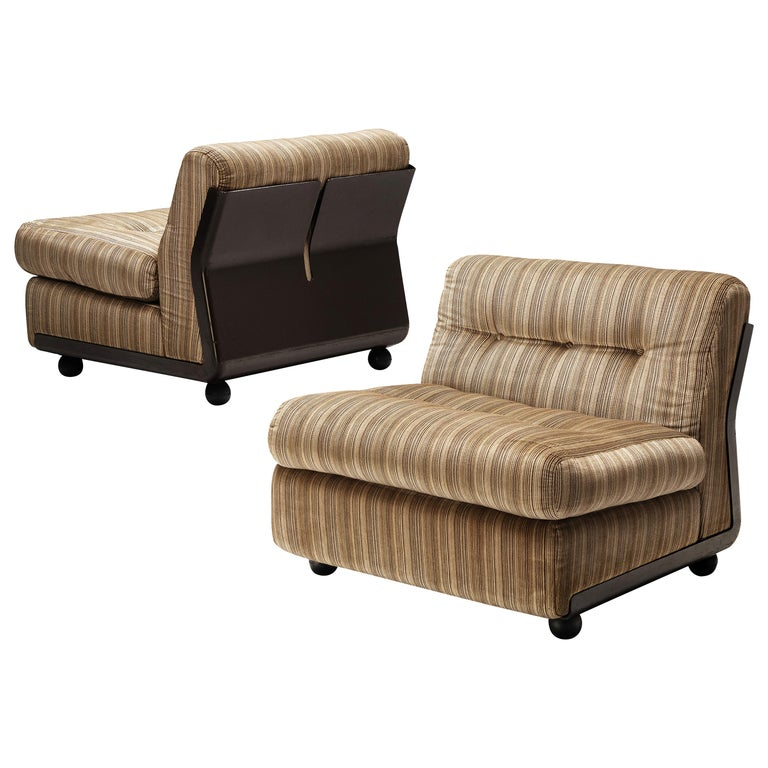 Mario Bellini 'Amanta' Pair of Lounge Chairs in Fiberlite and Striped Velvet Uph For Sale