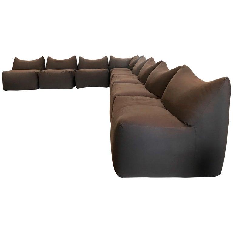 "Mario Bellini ""Bambole"" C&B Italia Modular Sofa in Dark Brown, Italy, 1970s For Sale"