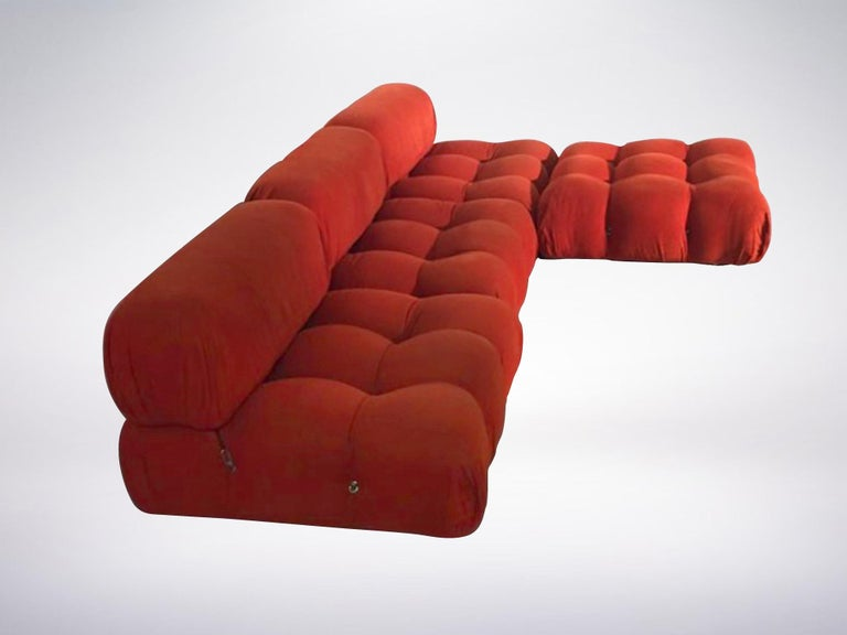 Post-Modern Mario Bellini B&B Italia, Camaleonda Sofa Set in Orange Upholstery, 1970 For Sale