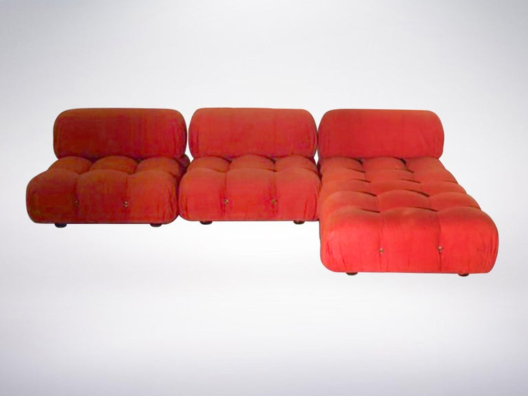 Italian Mario Bellini B&B Italia, Camaleonda Sofa Set in Orange Upholstery, 1970 For Sale