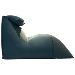 Mario Bellini B&B Le Bambole Lounge Chair Pholstering Petrol Green Fabric, 1979
