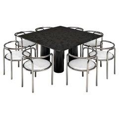 Mario Bellini Black 'Il Colonnato' Table and G. Aulenti 'Locus Solus' Chairs