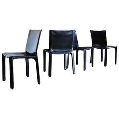 "Mario Bellini Black Leather ""Cab"" Chairs for Cassina, circa 1985"