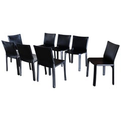 """Mario Bellini Black Leather """"Cab"""" Chairs for Cassina"""