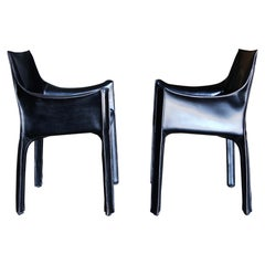 "Mario Bellini Black Leather ""Cab"" Chairs for Cassina"