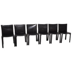 Mario Bellini Black Leather Cassina Cab Chairs, Set of Six, Italy, 1970