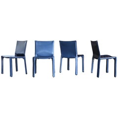 "Mario Bellini Blue Leather ""Cab"" Chairs for Cassina, circa 1985"