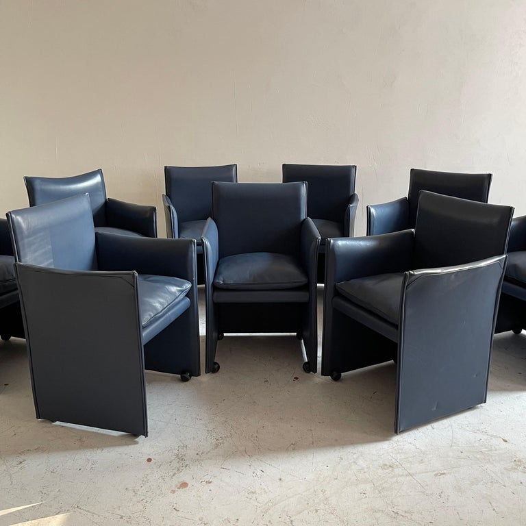 Mid-Century Modern Mario Bellini Breaker Armchair by Cassina 1970s, Set of 9 For Sale