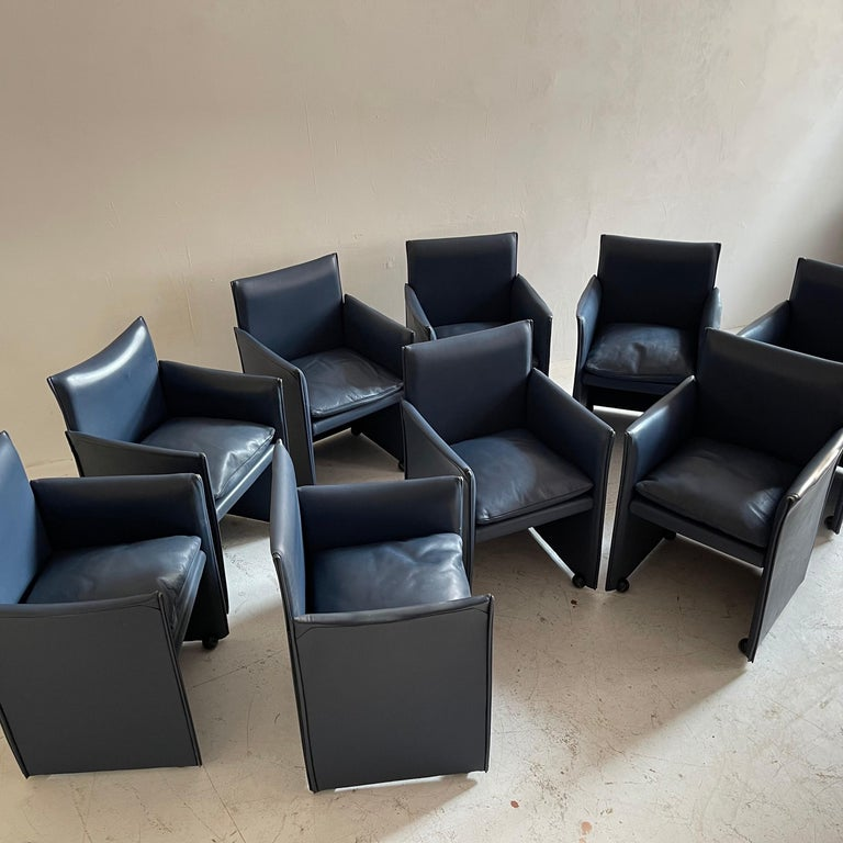Mario Bellini Breaker Armchair by Cassina 1970s, Set of 9 In Good Condition For Sale In Vienna, AT