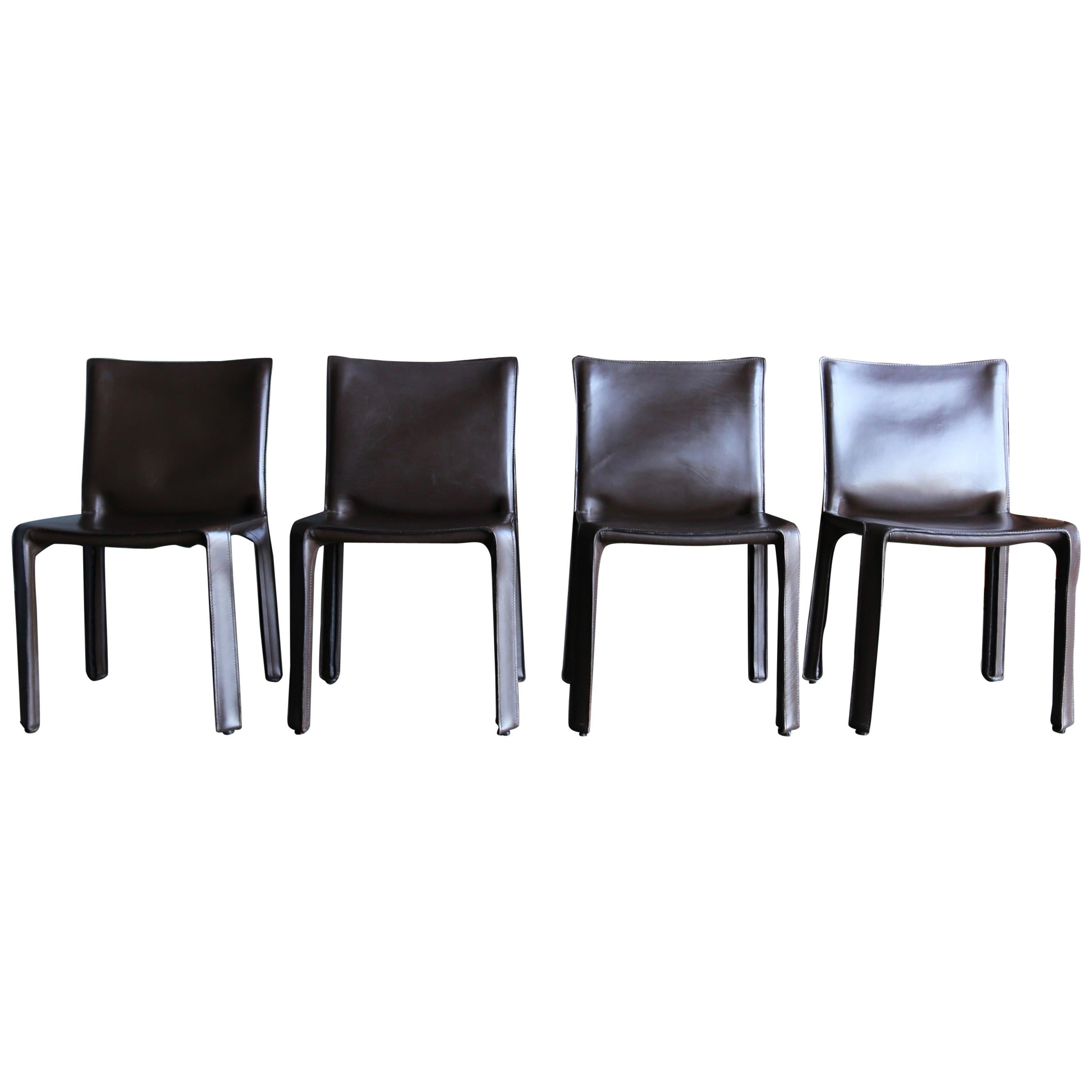 """Mario Bellini Brown Leather """"Cab"""" Chairs for Cassina"""