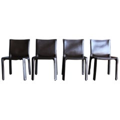 "Mario Bellini Brown Leather ""Cab"" Chairs for Cassina"