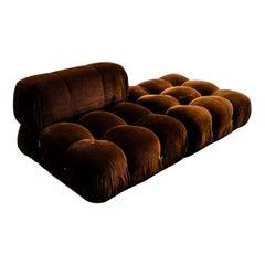 "Mario Bellini Brown Velvet ""Camaleonda"" Lounge Chair & Pouf for B&B Italia, 1972"