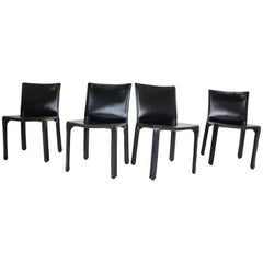 "Mario Bellini ""Cab-412"" Set of 2 Black Leather Chairs for Cassina, 1970"