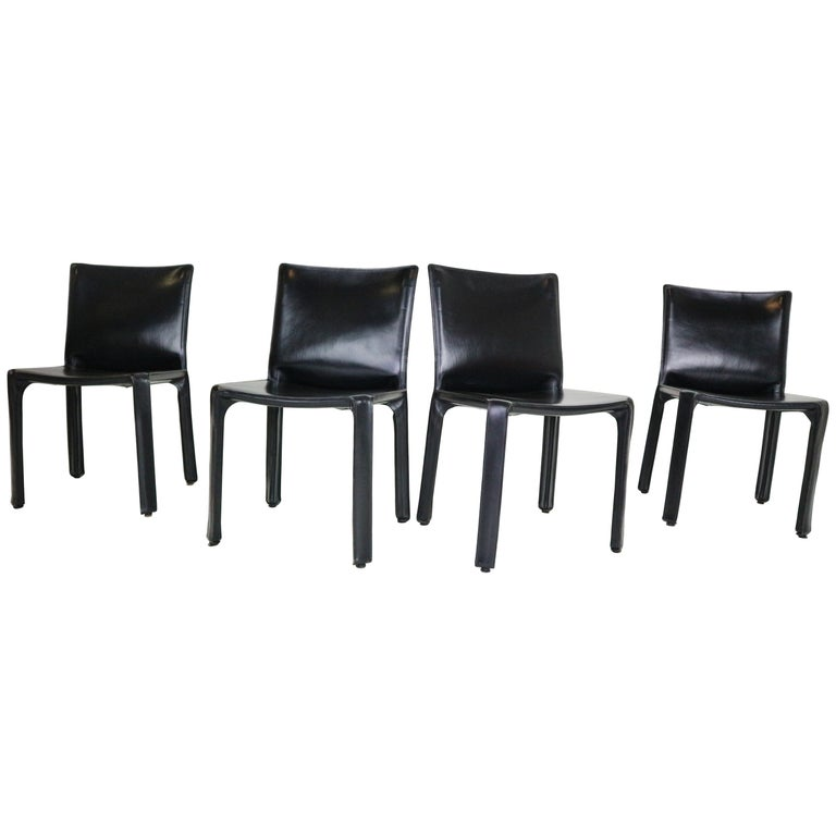 3 BelliniCassani Design Inspired Black Leather Cab Chairs Price is for the Group of 3 chairs