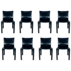 """Mario Bellini """"Cab-412"""" Set of 8 Leather Chairs for Cassina"""