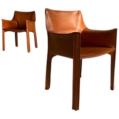 Mario Bellini CAB 413 Pair Armchairs in Patinated Cognac Leather, Italy, 1970s