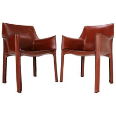 """Mario Bellini """"Cab-413"""" Set of 2 Leather Armchairs for Cassina, 1980s, Italy"""