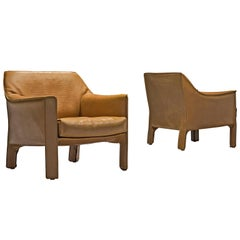 "Mario Bellini 'Cab 415"" Lounge Chairs in Cognac Leather"