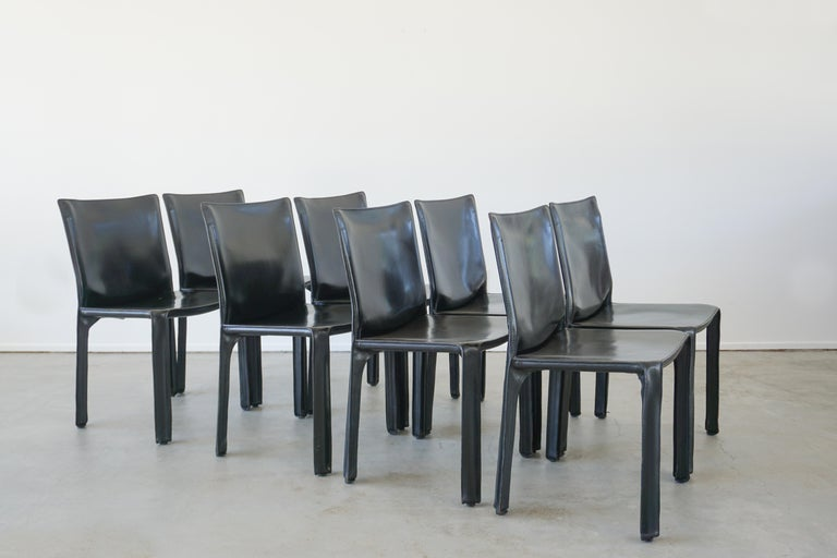 Classic leather cab chairs by Mario Bellini for Cassina Classic black leather - Excellent vintage condition. Set of 8 available.