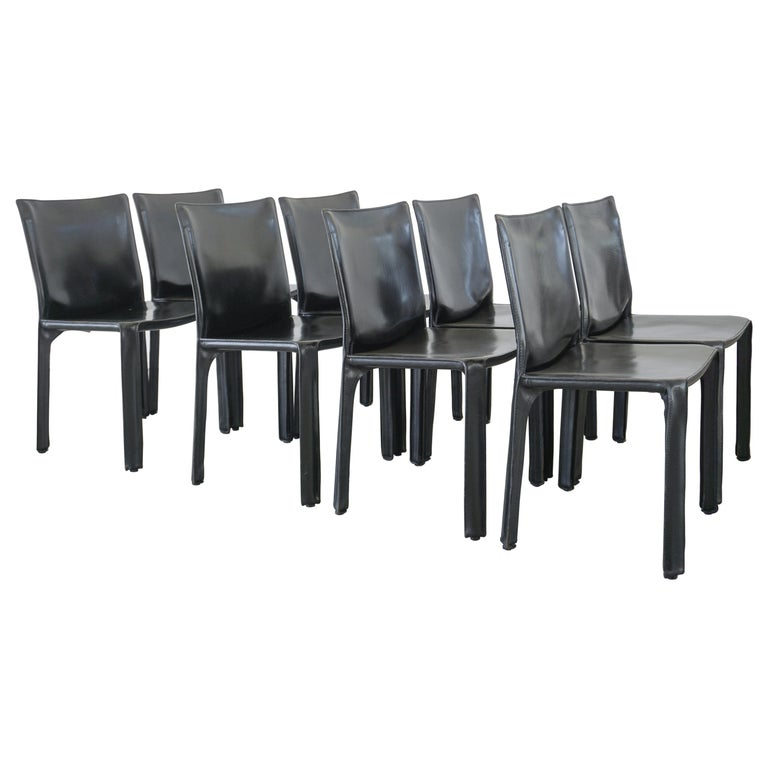 """Mario Bellini """"Cab"""" Chairs in Black Leather, Set of 8 For Sale"""