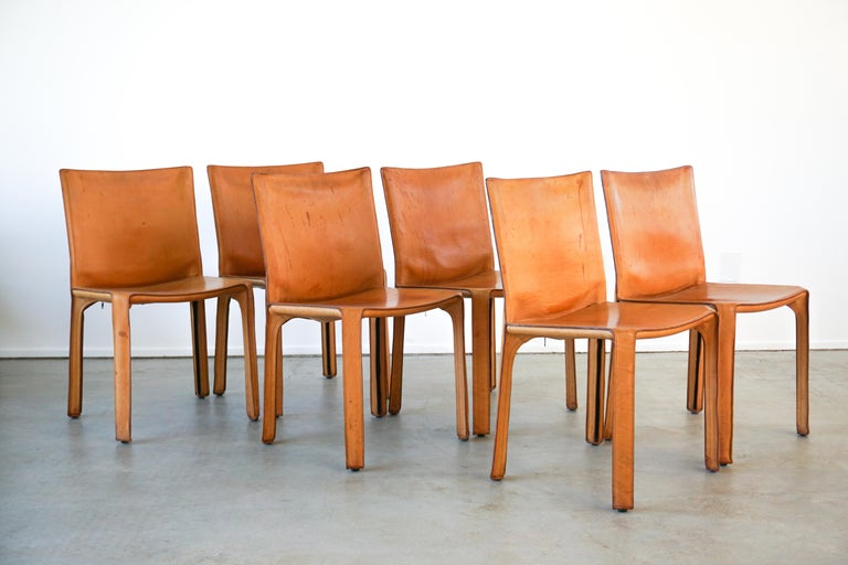Classic leather cab chairs by Mario Bellini for Cassina.