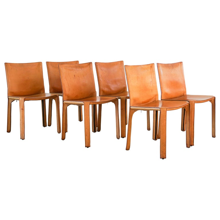 "Mario Bellini ""Cab"" Chairs in Camel Leather"