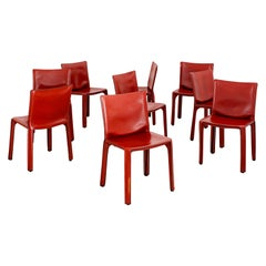 "Mario Bellini ""Cab"" Chairs in Caramel Leather"