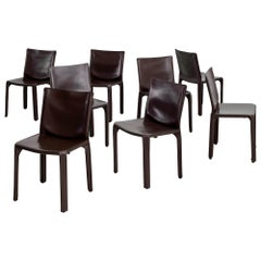 "Mario Bellini ""Cab"" Chairs in Chocolate Leather"