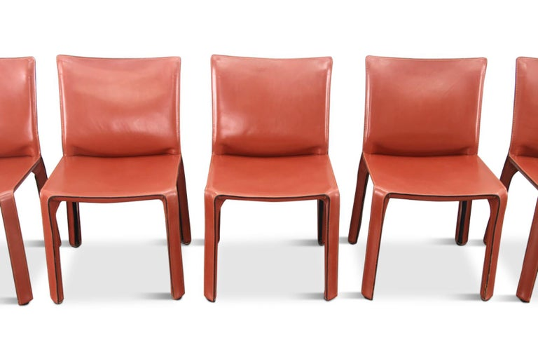 Mid-Century Modern Mario Bellini Cab Chairs in Oxblood Red Leather for Cassina, 1977 For Sale